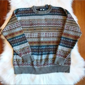 {Vintage} Woods & Gray Patterned Chunky Sweater